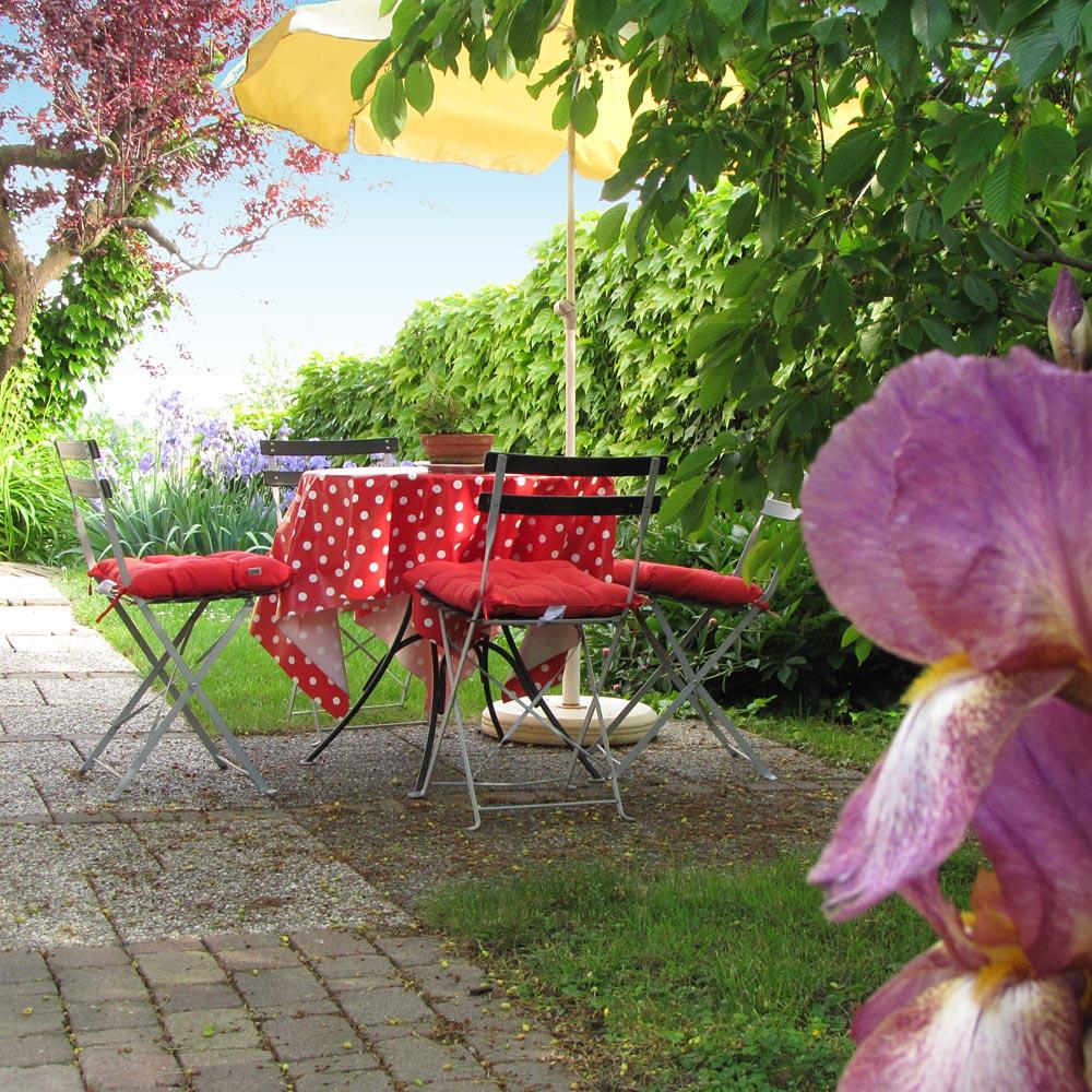 Côté jardin : une table, des chaise et un parasol